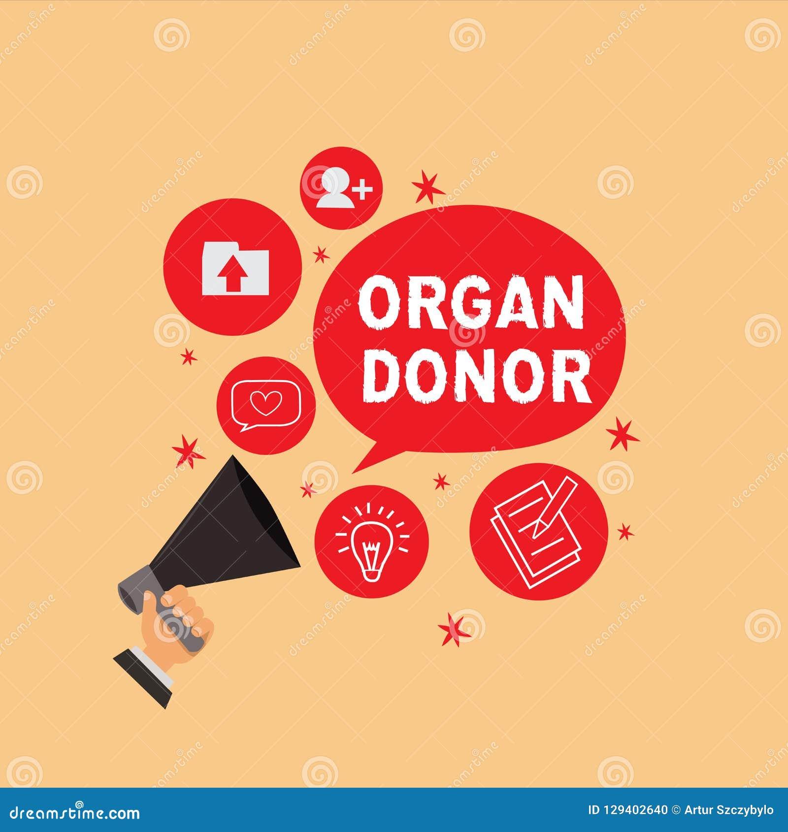 Handwriting tekst pisze Organowego dawcy Pojęcie znaczy A demonstrować organ ich ciała czego dla od oferuje