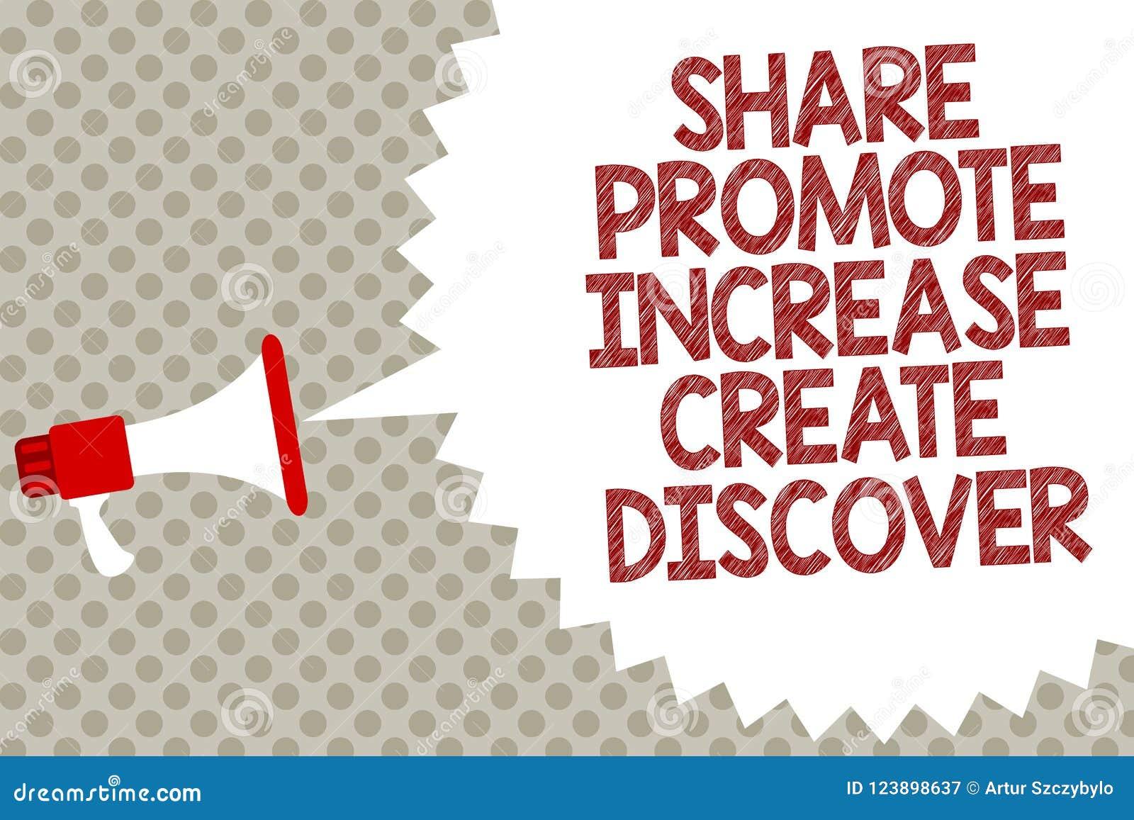 Handwriting teksta część Promuje wzrost Tworzy Odkrywa Pojęcia znaczenia inspiraci motywaci megafonu głośnika Marketingowy sp