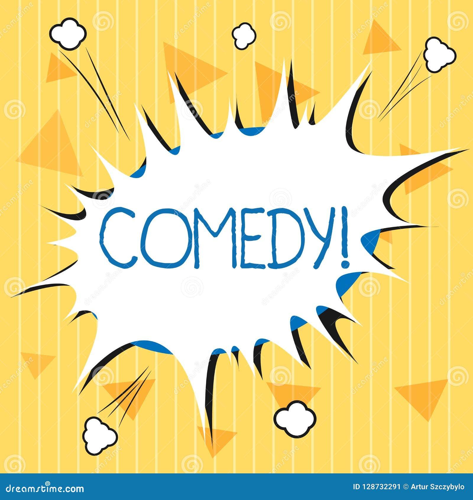 Handwriting teksta komedia Pojęcia znaczenia Fachowa rozrywka Żartuje nakreślenia Robi widowni śmiać się humor