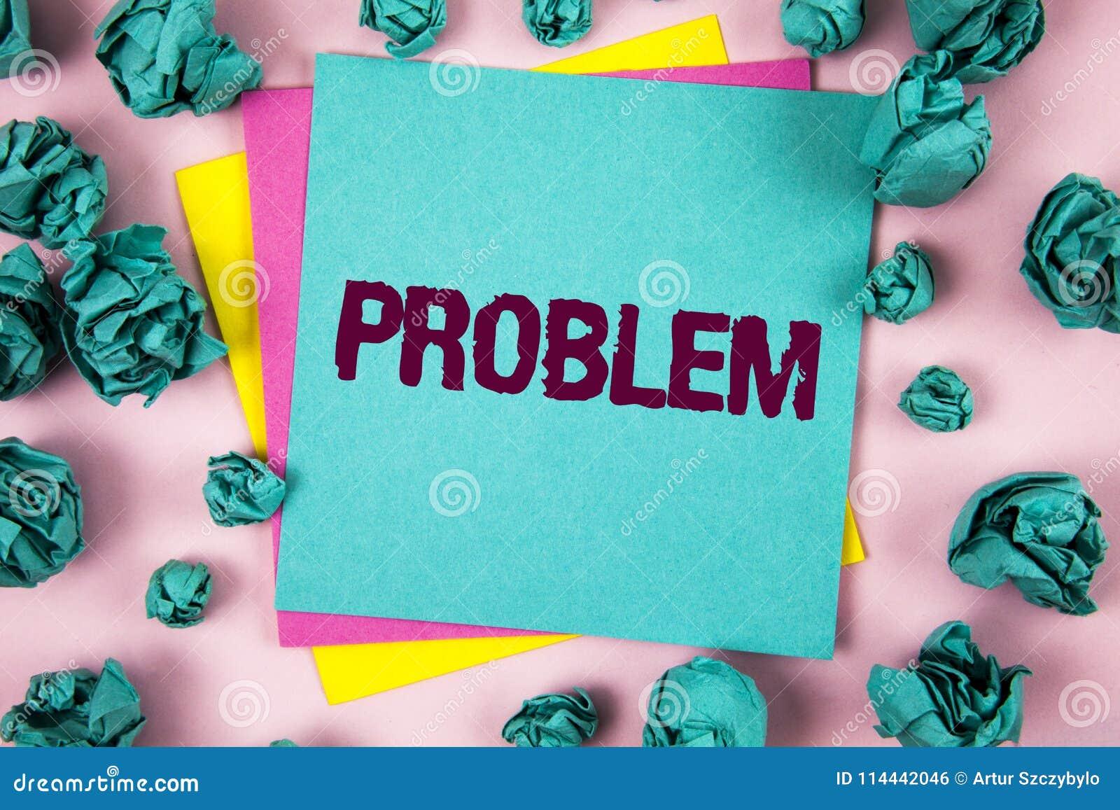Handwriting teksta problem Pojęcia znaczenia kłopot który potrzebuje być rozwiązującym Trudnym sytuaci komplikacją pisać na Kleis