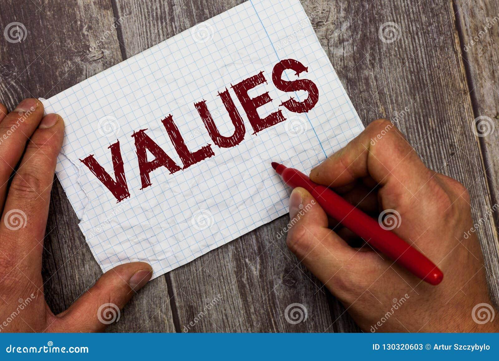 Handwriting teksta wartości Pojęcia znaczenia uwzględnienie który trzymają coś zasługuje ważności worth coś
