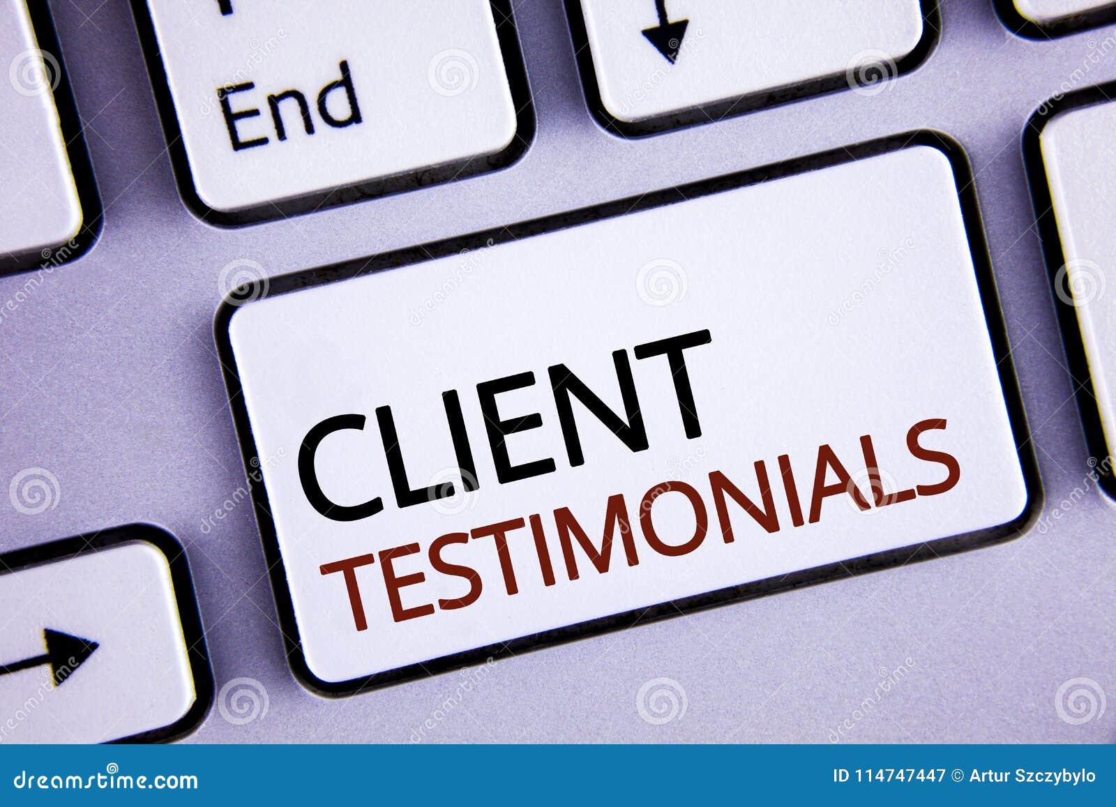 Handwriting teksta writing klienta Testimonials Pojęcia znaczenia klienta ogłoszenie towarzyskie Doświadcza przegląd opinii infor