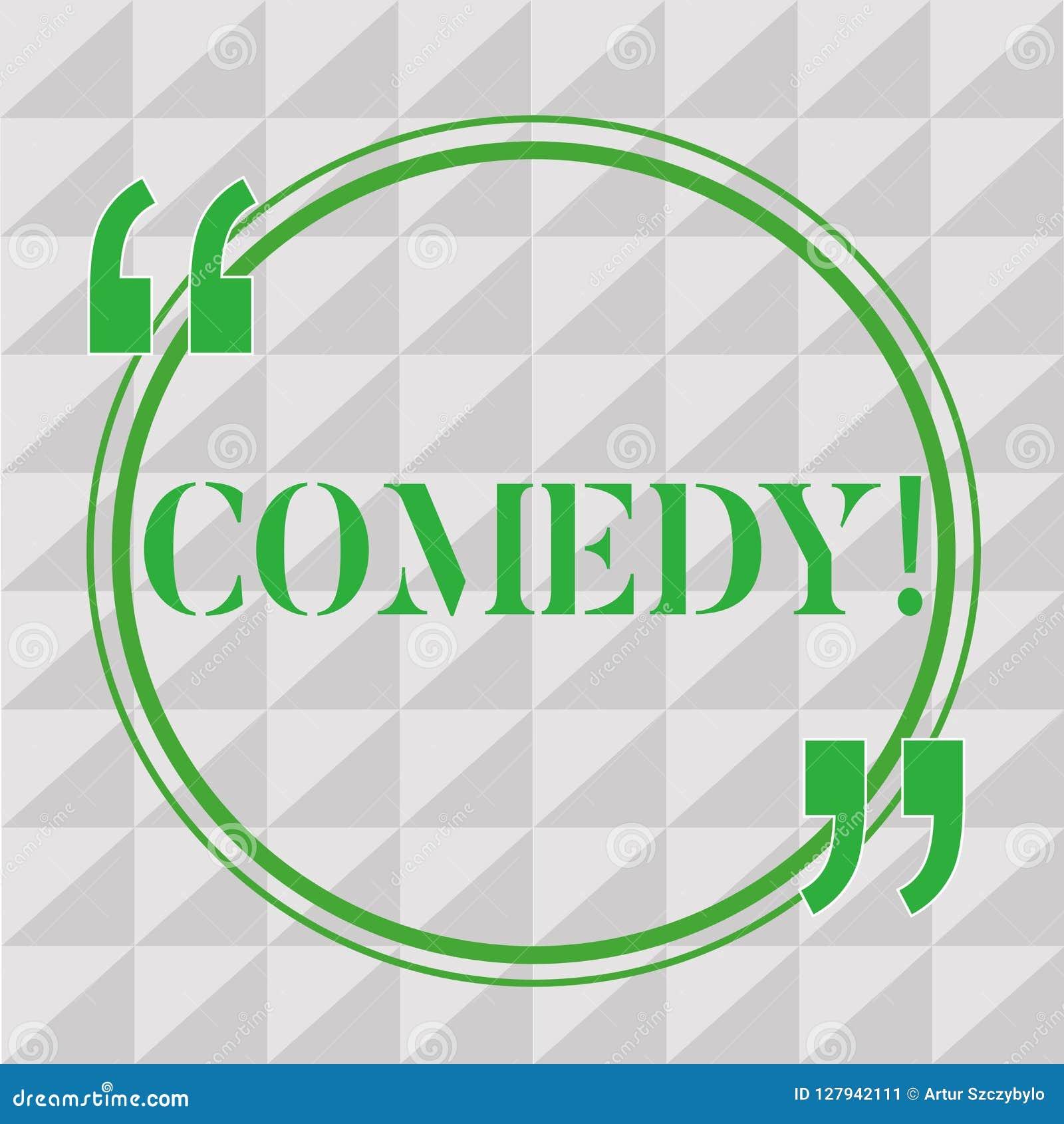 Handwriting teksta writing komedia Pojęcia znaczenia Fachowa rozrywka Żartuje nakreślenia Robi widowni śmiać się humor