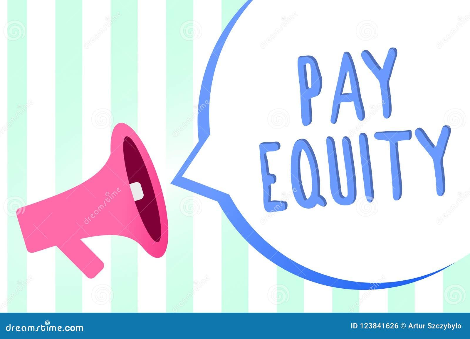 Handwriting teksta wynagrodzenia sprawiedliwość Pojęcia znaczenie eliminuje płeć i biegową dyskryminację w płaca systemów megafon