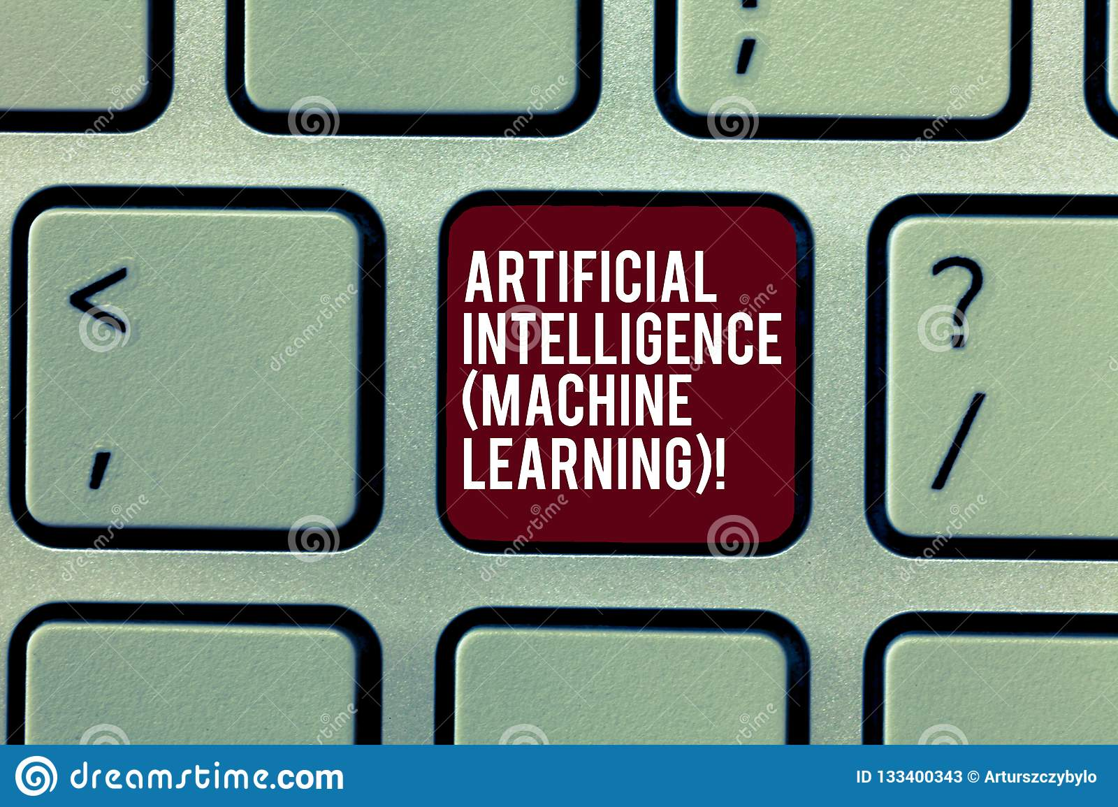 Handwriting text Artificial Intelligence Machine Learning. Concept meaning Latest technology robots chat bot Keyboard