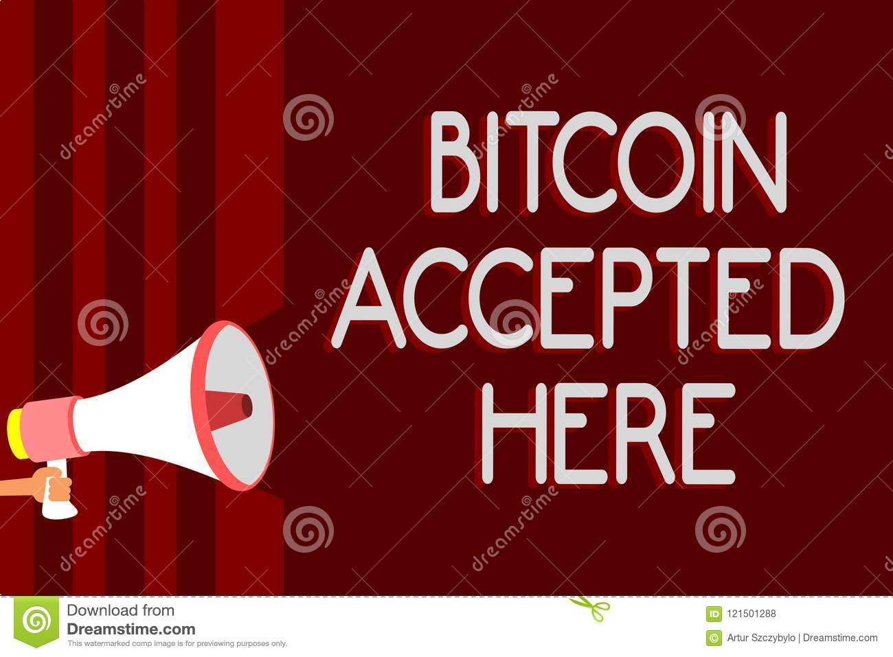 Handwriting Text Bitcoin Accepted Here. Concept Meaning You Can ...