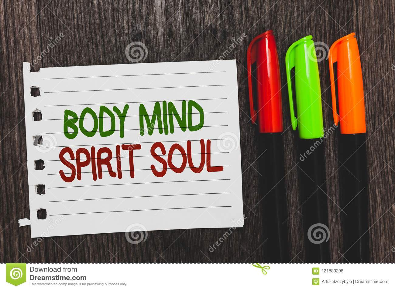 Handwriting Text Body Mind Spirit Soul  Concept Meaning Personal