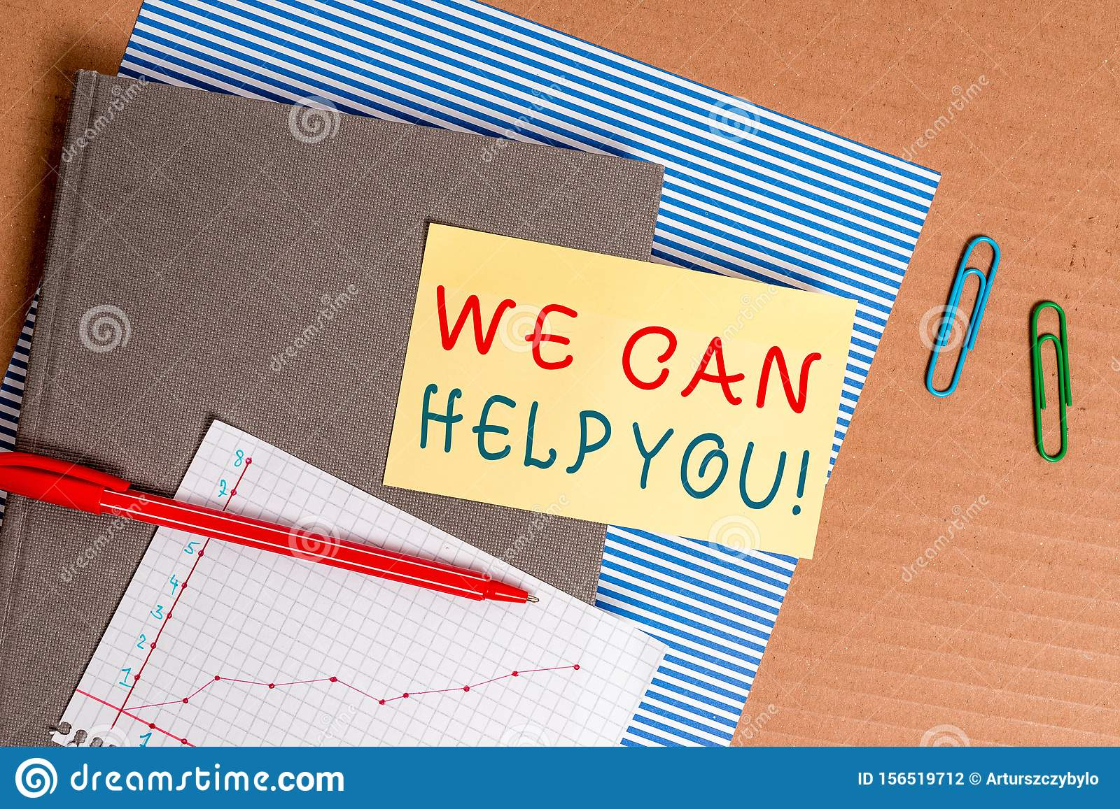 Handwriting text We Can Help You. Concept meaning offering good assistance to customers or friends Striped paperboard