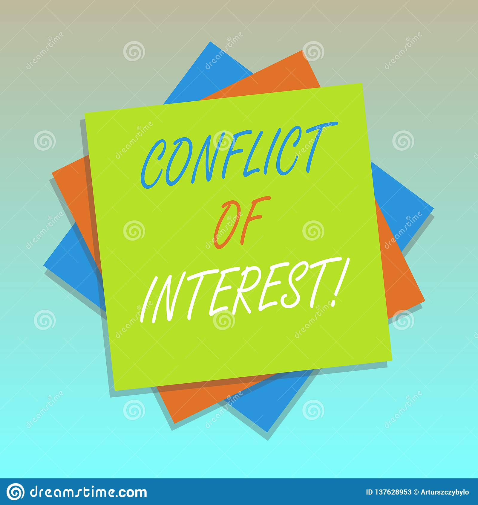 Handwriting Text Conflict Of Interest  Concept Meaning
