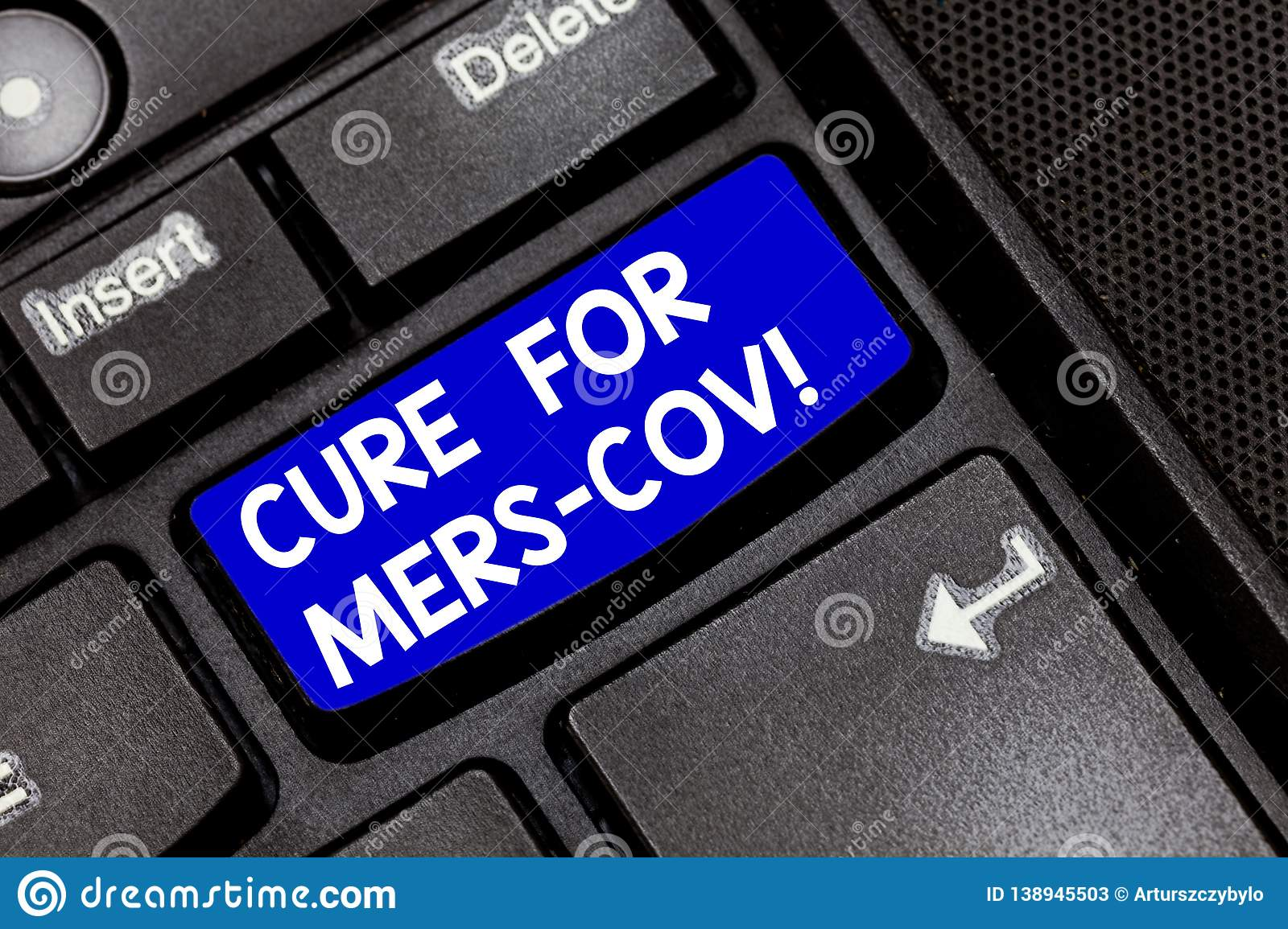 Handwriting text Cure For Mers Cov. Concept meaning viral respiratory illness that first reported Saudi Arabia Keyboard