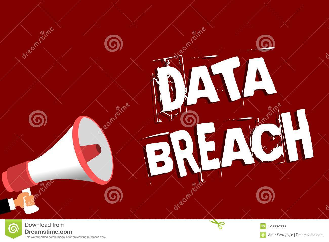 Handwriting text Data Breach. Concept meaning security incident where sensitive protected information copied Man holding megaphone