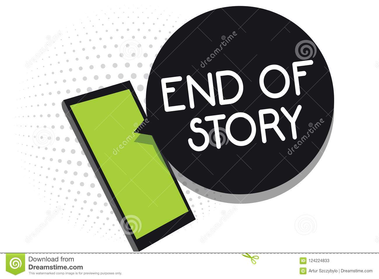 Handwriting Text End Of Story Concept Meaning Emphasize That