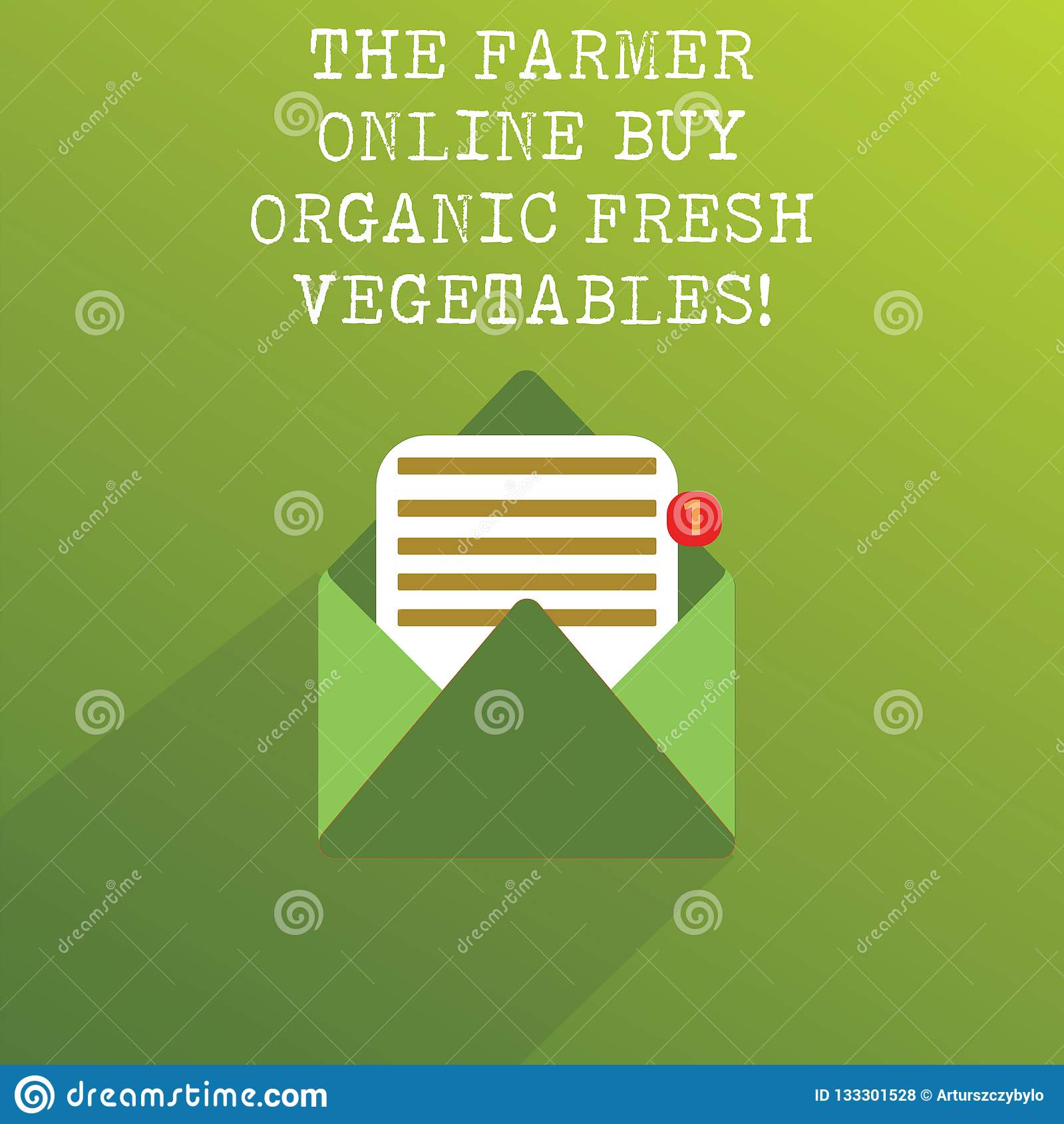 Handwriting text The Farmer Online Buy Organic Fresh Vegetables. Concept meaning Purchase healthy food Open Message Envelope with