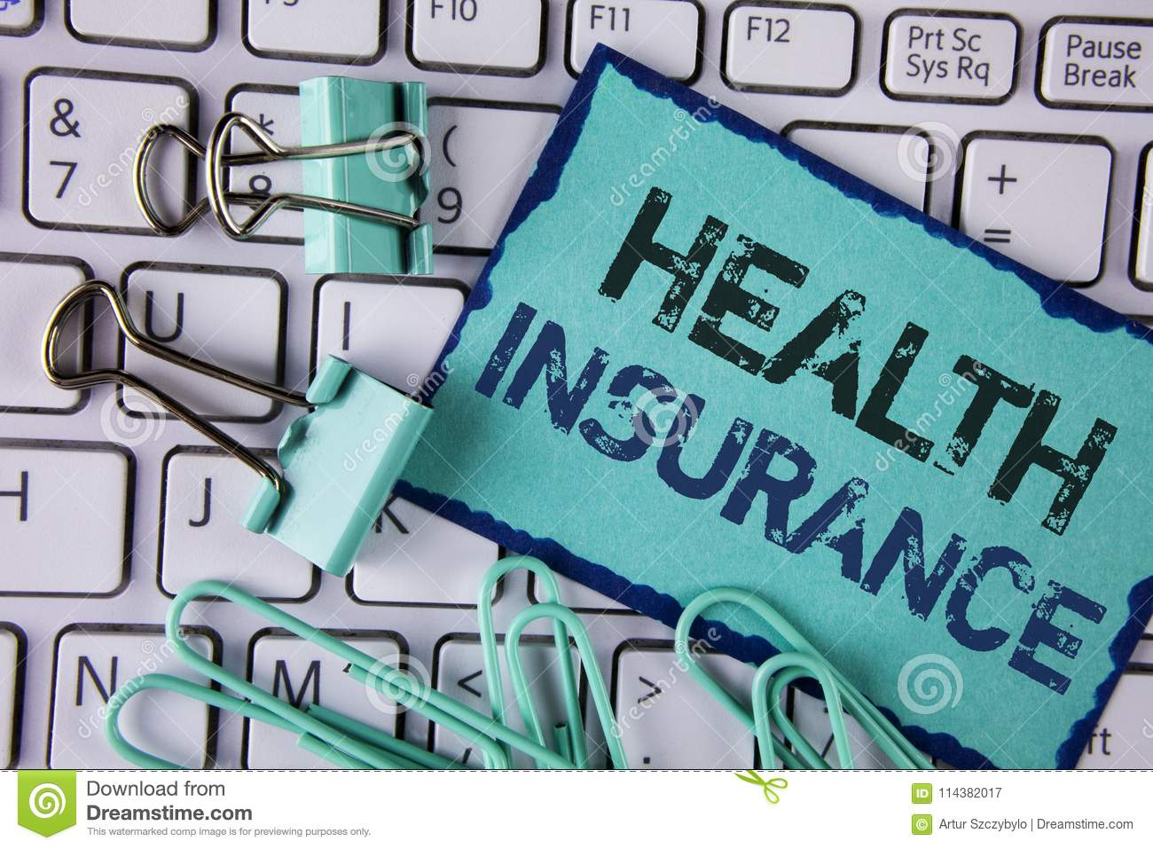 Handwriting text Health Insurance. Concept meaning Health insurance information coverage healthcare provider written on Sticky Not