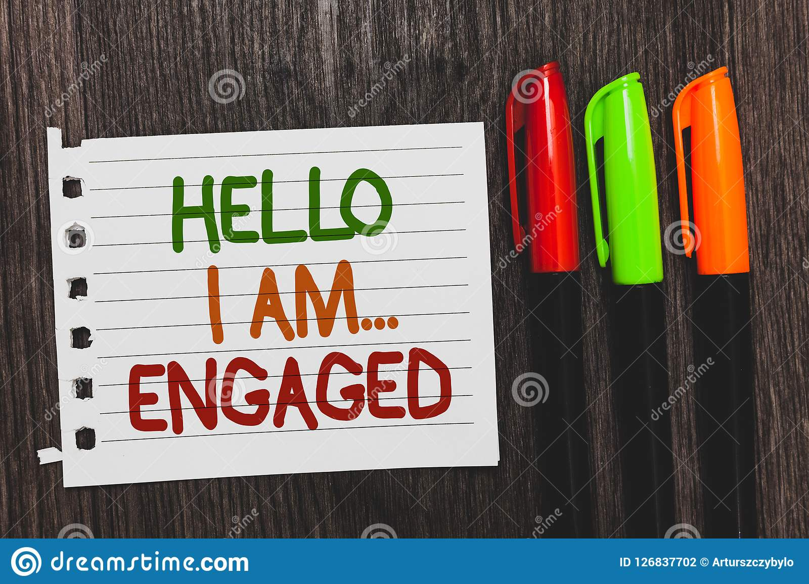Handwriting text Hello I Am... Engaged. Concept meaning He gave the ring We are going to get married Wedding Colorful words with w. Hite page red green orange Stock Photography