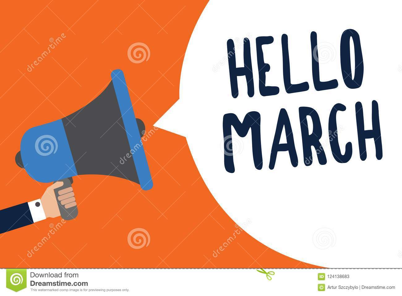 Handwriting Text Hello March  Concept Meaning Musical