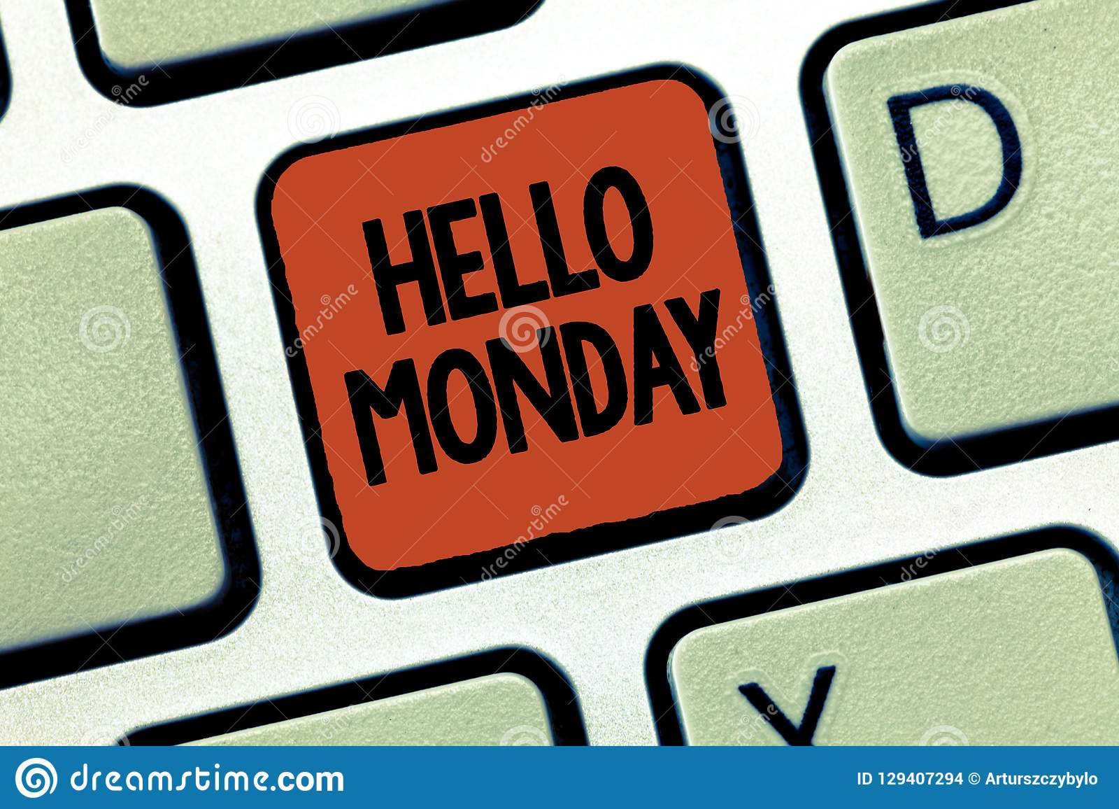 Handwriting Text Hello Monday  Concept Meaning Greeting Positive