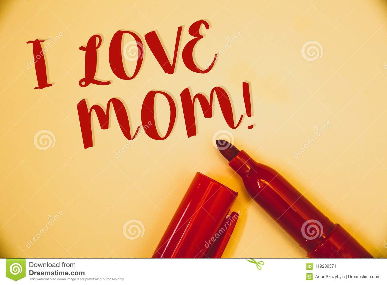 Handwriting text I Love Mom Motivational Call. Concept meaning Good feelings for their own mother TendernessIdeas messages words r