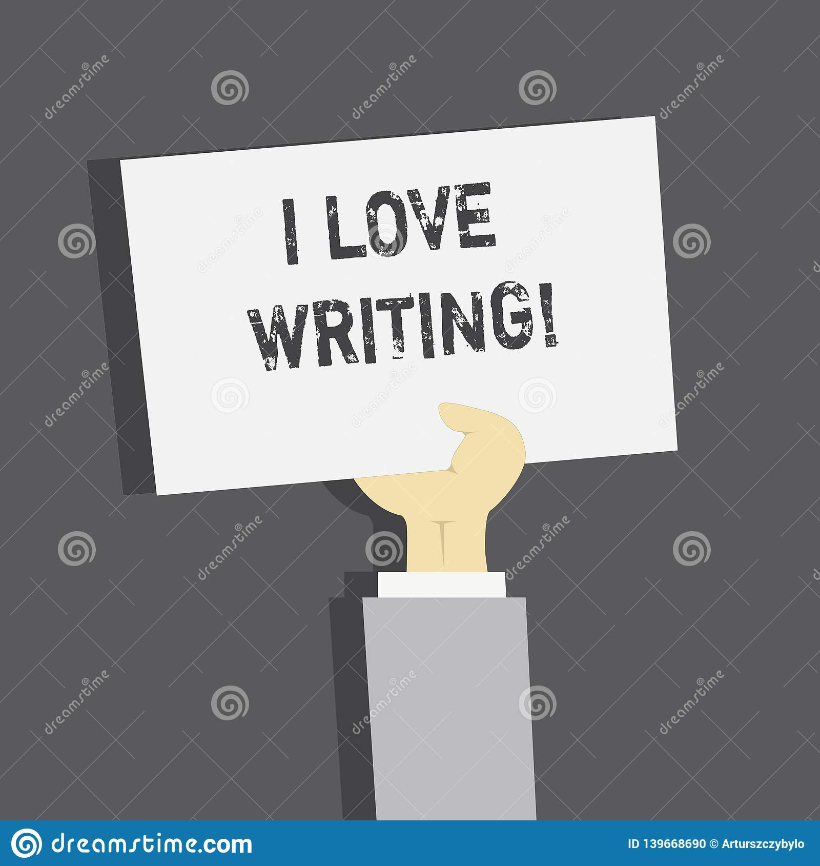 Handwriting text I Love Writing. Concept meaning Affection for creating novels journals inspirational author.
