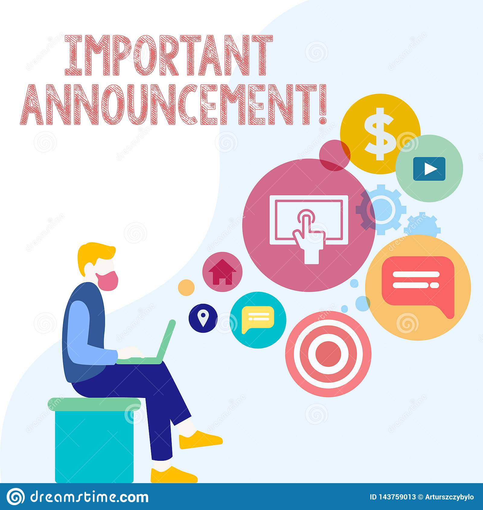 Handwriting text Important Announcement. Concept meaning A significant public notification or declaration Man Sitting