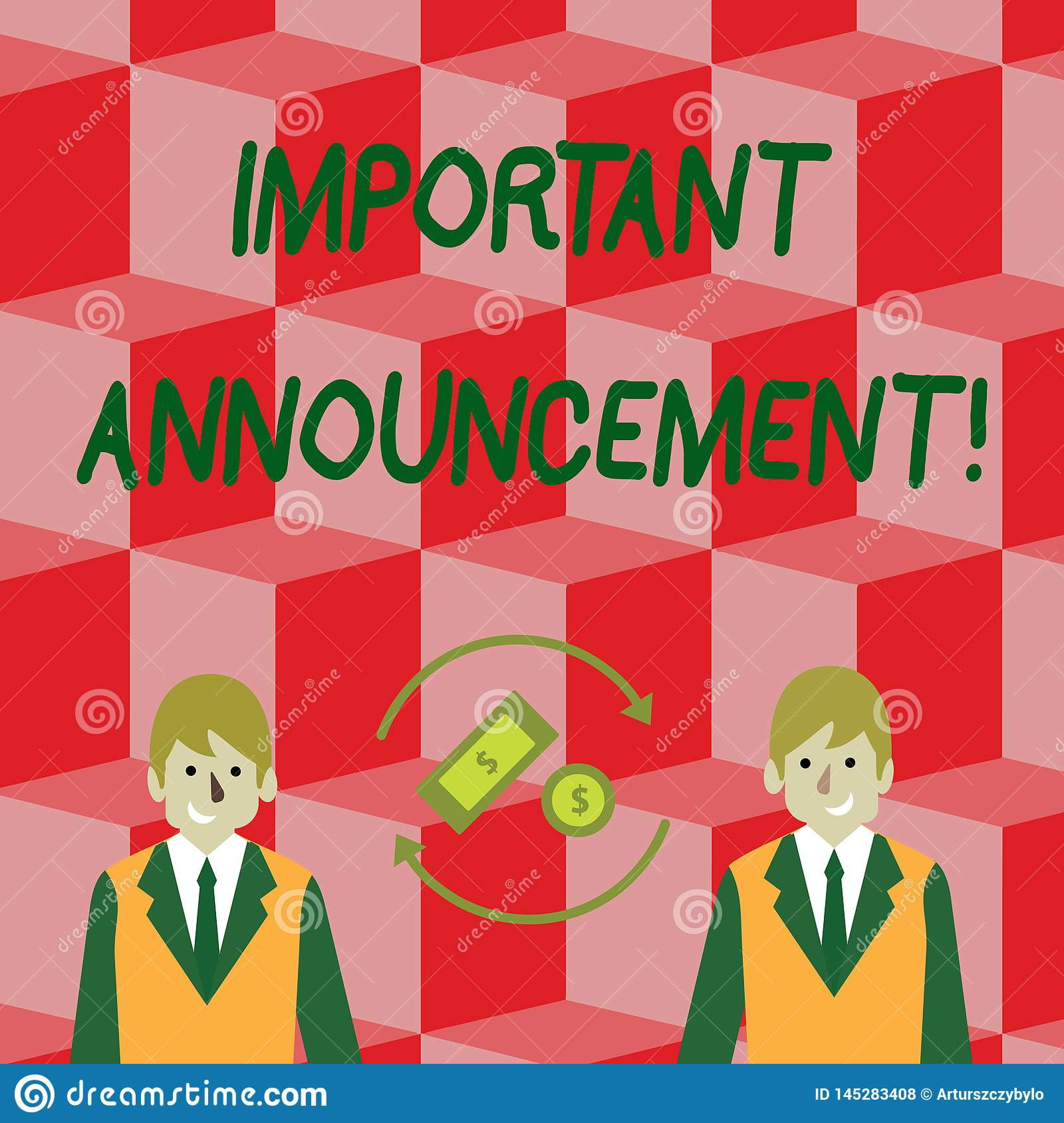 Handwriting text Important Announcement. Concept meaning spoken statement that tells showing about something Money in
