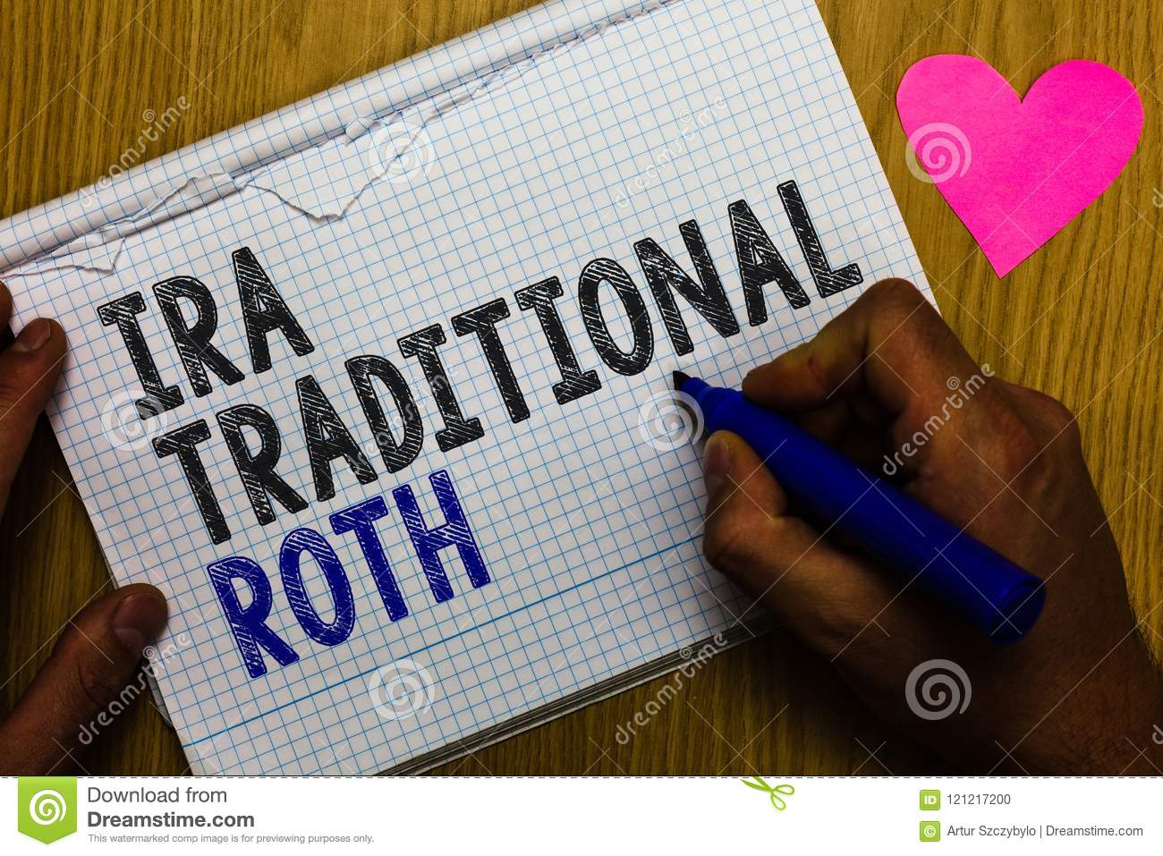 Handwriting Text Ira Traditional Roth. Concept Meaning Are ...