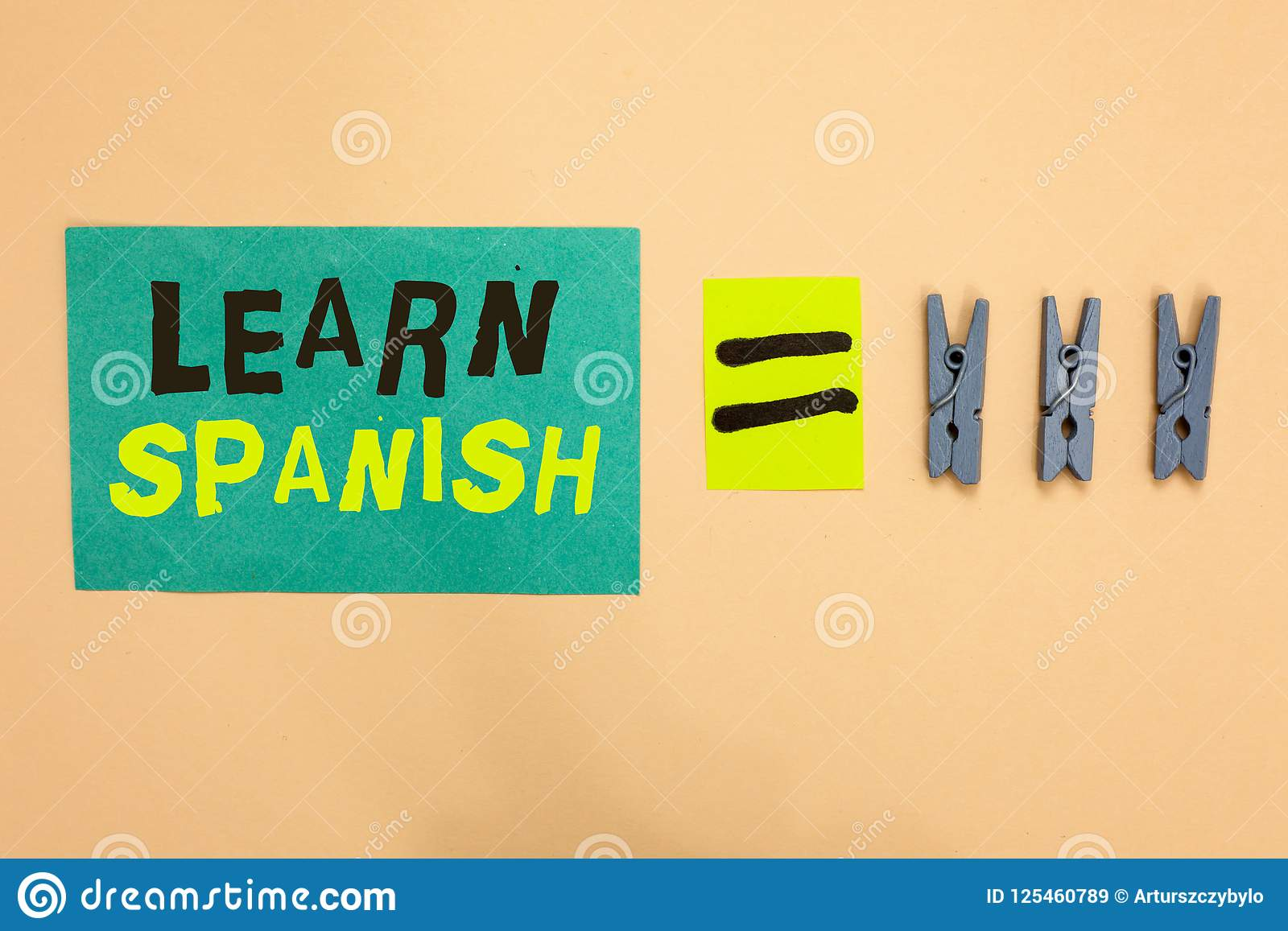 Handwriting Text Learn Spanish  Concept Meaning Translation
