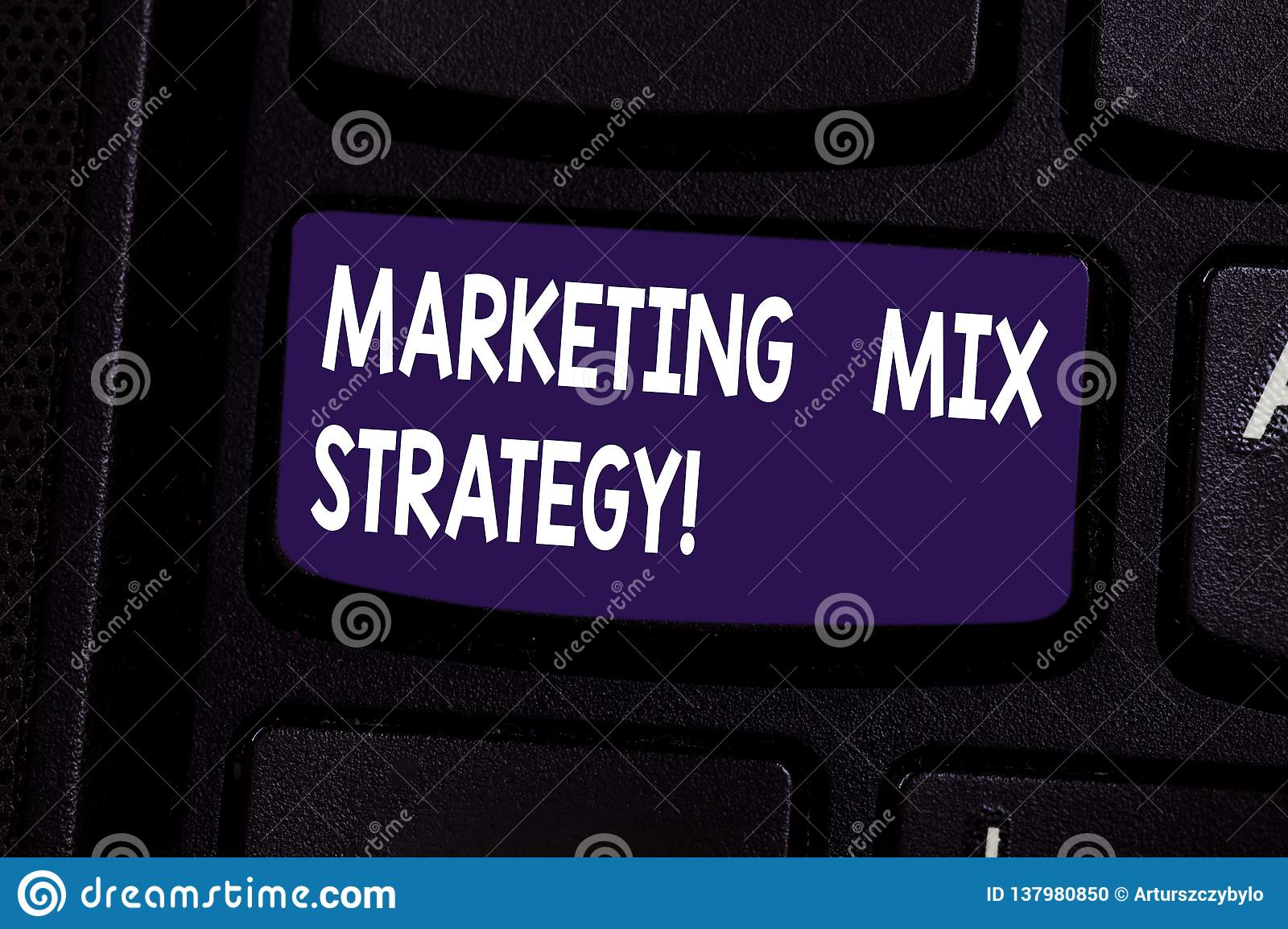 Handwriting text Marketing Mix Strategy. Concept meaning Set of governable tactical marketing tool company use Keyboard