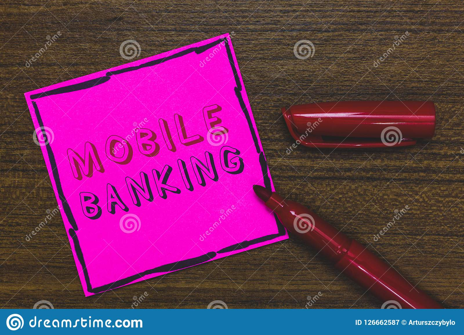Handwriting text Mobile Banking. Concept meaning Monitoring account balances Transferring funds Bill payment Pink Paper Important. Reminder Communicate ideas Royalty Free Stock Photography