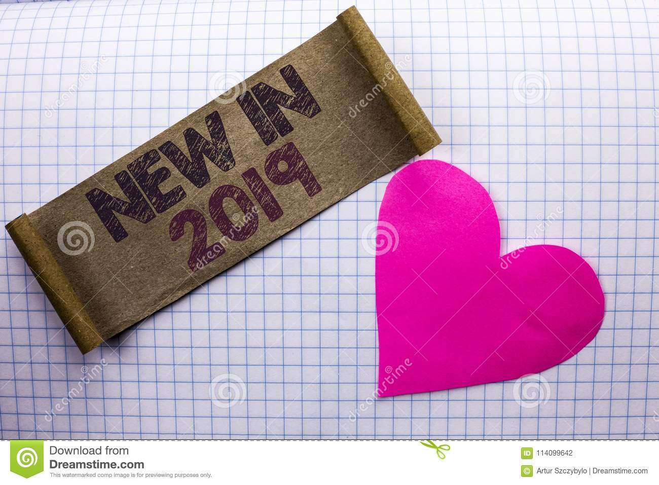 Handwriting text New In 2019. Concept meaning Fresh Era Latest Year Period Season Annual Coming Modern written on Cardboard Piece