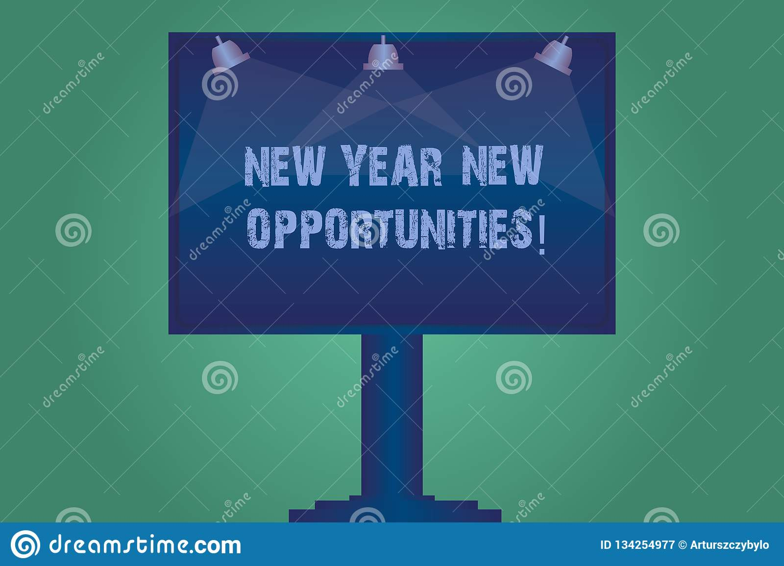 Handwriting text New Year New Opportunities. Concept meaning Fresh start Motivation inspiration 365 days Blank Lamp