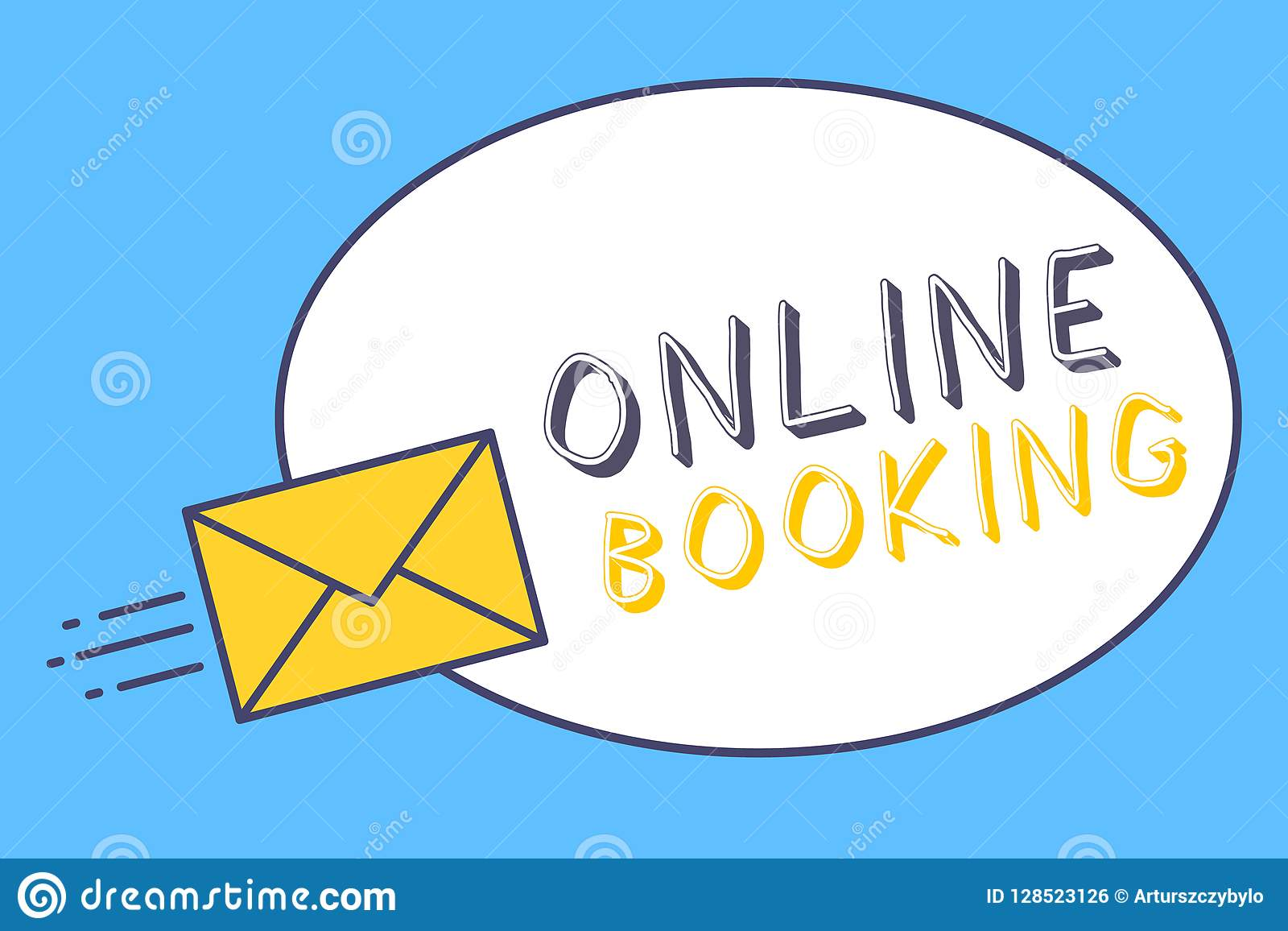 Handwriting Text Online Booking Concept Meaning Reservation Through Internet Hotel Accommodation Plane Ticket Stock Illustration Illustration Of Guide Airplane 128523126