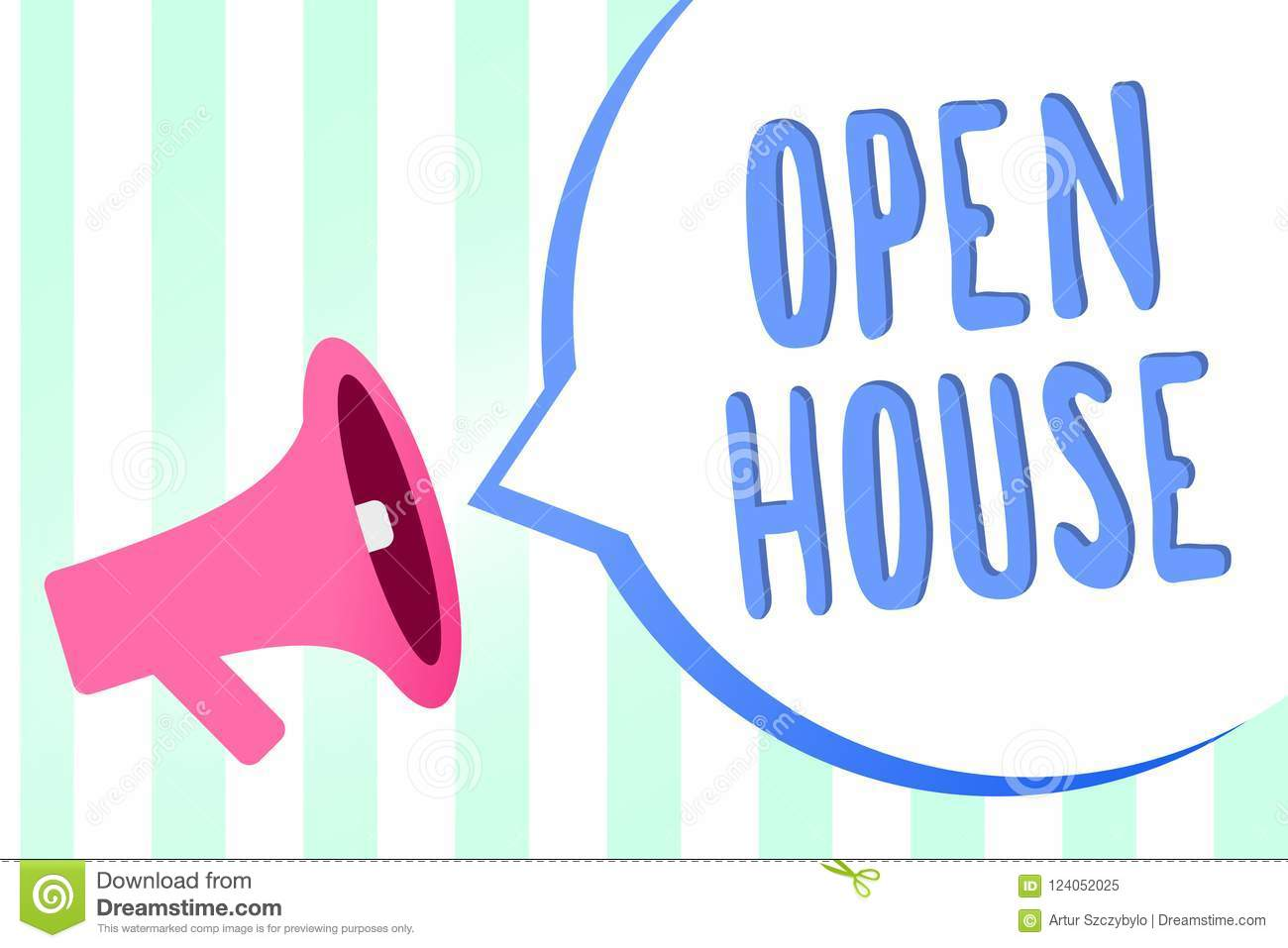 Handwriting text open house concept meaning you can come whatever concept meaning you can come whatever whenever want make yourself at home megaphone loudspeaker stripes background important message speech bubble solutioingenieria Images