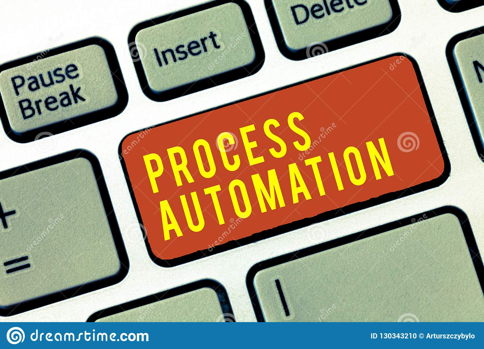 Handwriting text Process Automation. Concept meaning Transformation Streamlined Robotic To avoid Redundancy