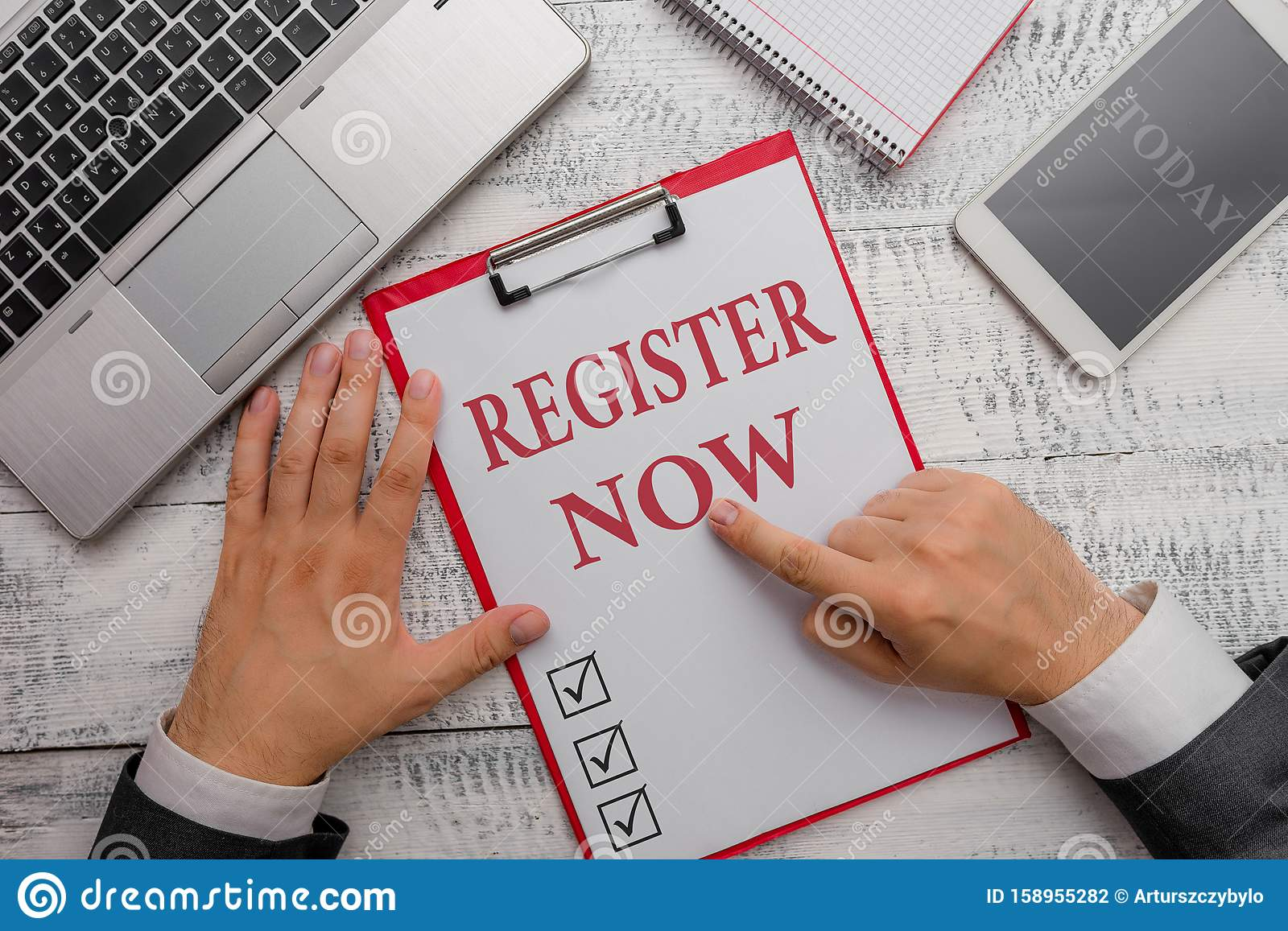 Handwriting Text Register Now Concept Meaning Name In An Official
