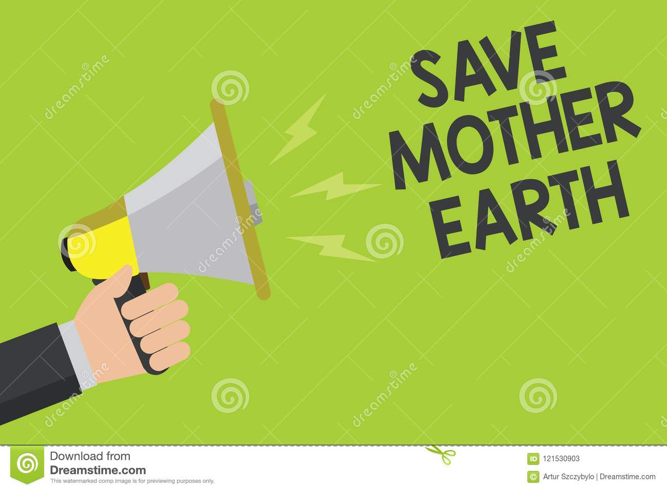 Handwriting Text Save Mother Earth Concept Meaning Doing Small