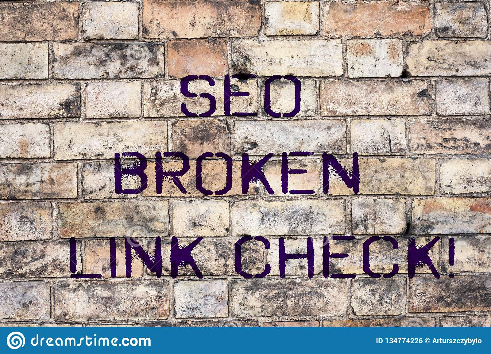 Handwriting text Seo Broken Link Check. Concept meaning Search engine optimization error in website links