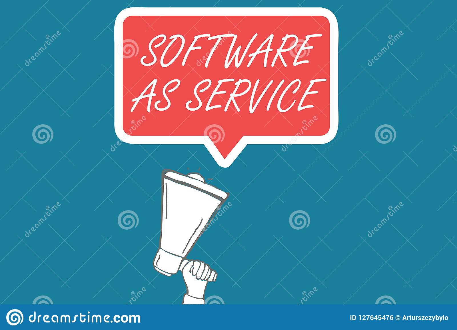 Handwriting text Software As Service. Concept meaning On Demand licensed on Subscription and centrally hosted