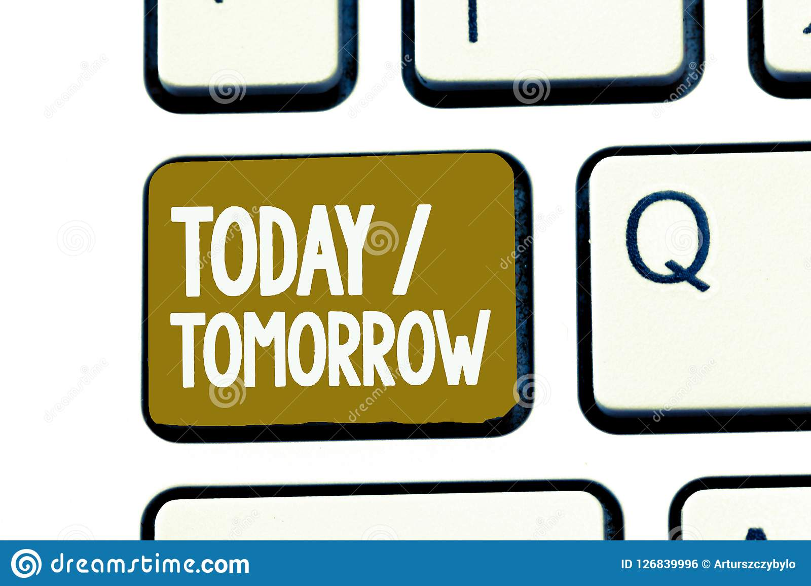 Handwriting text Today Tomorrow. Concept meaning What is happening now and what the future will bring.  Royalty Free Stock Image