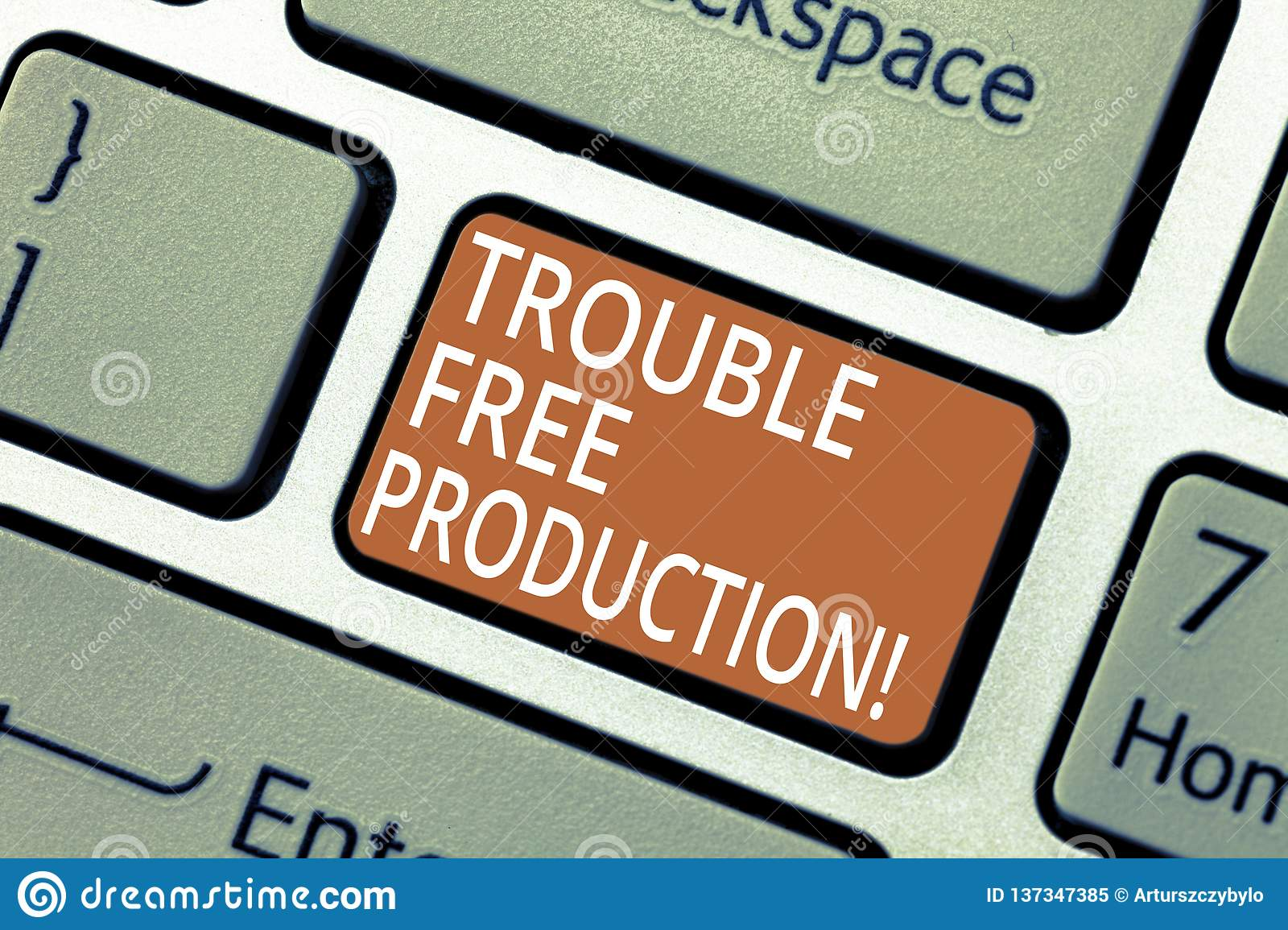 Handwriting text Trouble Free Production. Concept meaning Without problems or difficulties in the production Keyboard