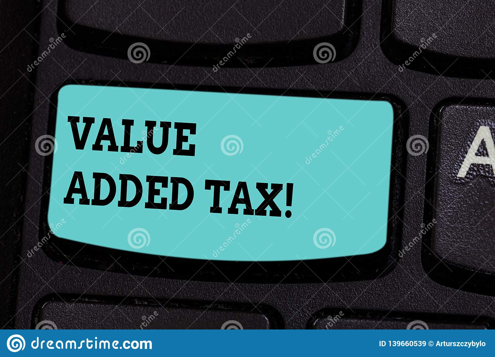 Handwriting text Value Added Tax. Concept meaning Amount of money added to cover production and distribution Keyboard