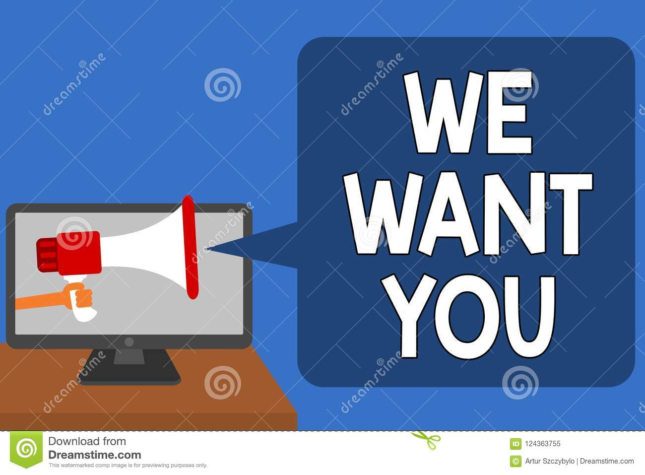 Handwriting Text We Want You  Concept Meaning Company Wants To Hire