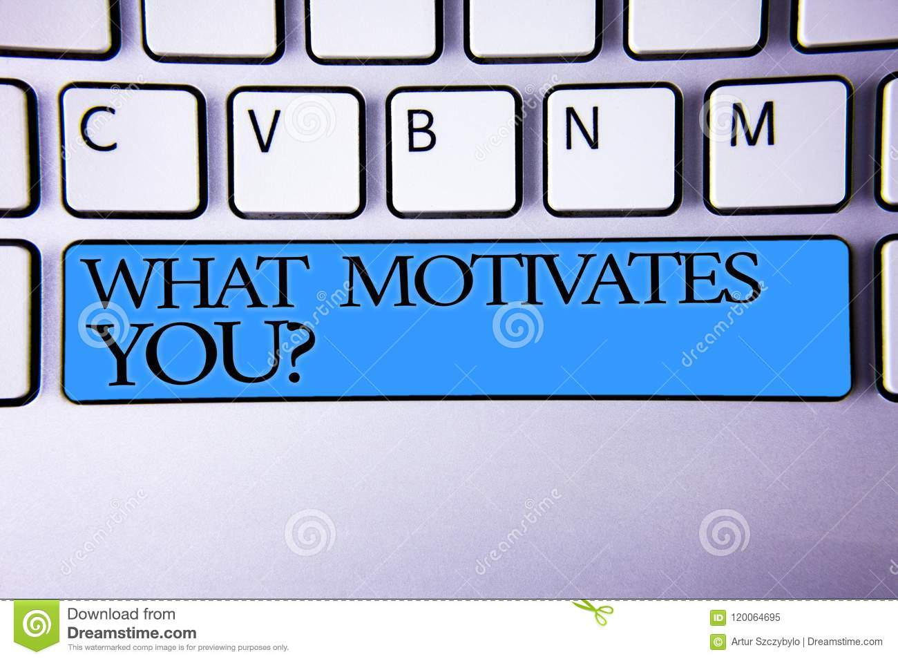 Handwriting text What Motivates You Question. Concept meaning Passion Drive Incentive Dream Aspiration Alphabetic buttons blue spa