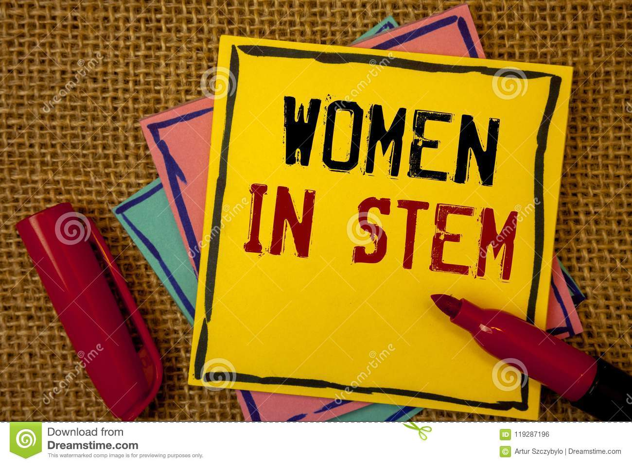 Handwriting text Women In Stem. Concept meaning Science Technology Engineering Mathematics Scientist Research