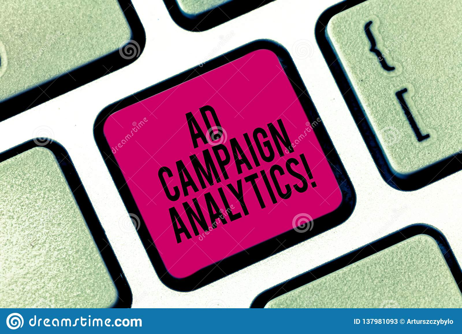 Handwriting text writing Ad Campaign Analytics. Concept meaning monitor campaigns and their respective outcomes Keyboard