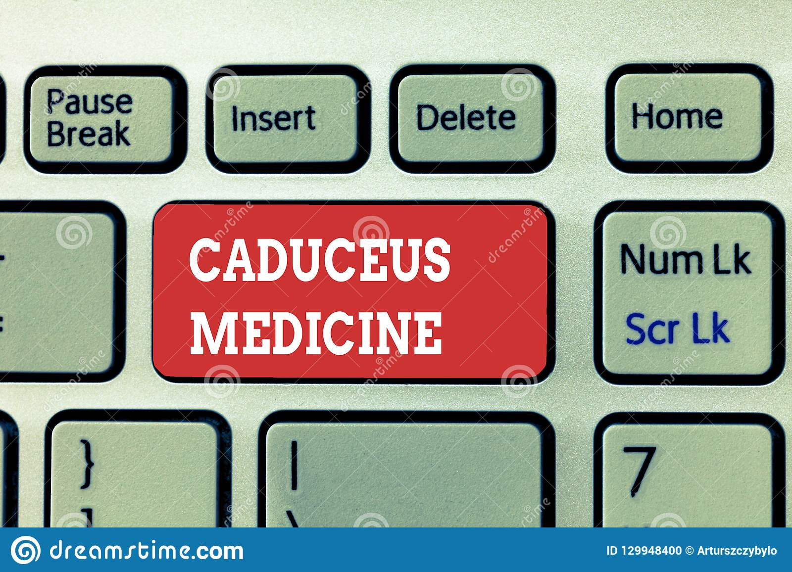 Handwriting text writing Caduceus Medicine. Concept meaning symbol used in medicine instead of the Rod of Asclepius