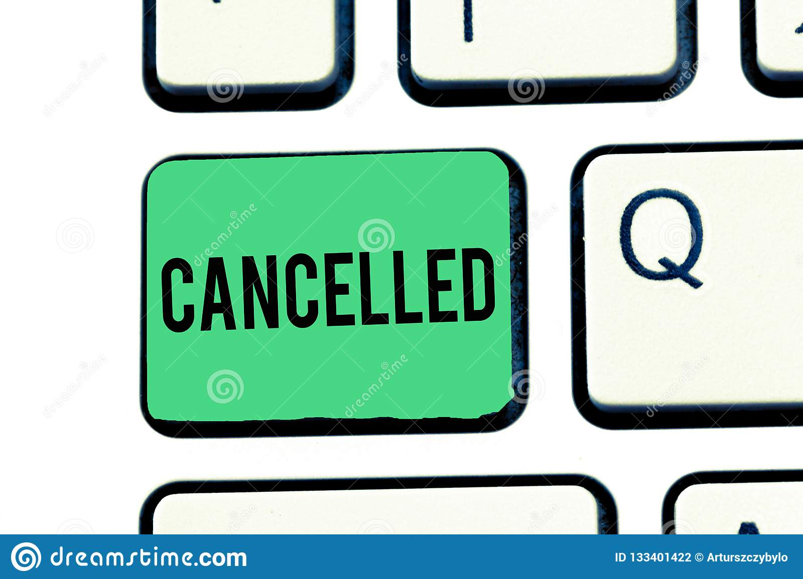 Handwriting text writing Cancelled. Concept meaning decide or announce that planned event will not take place Keyboard