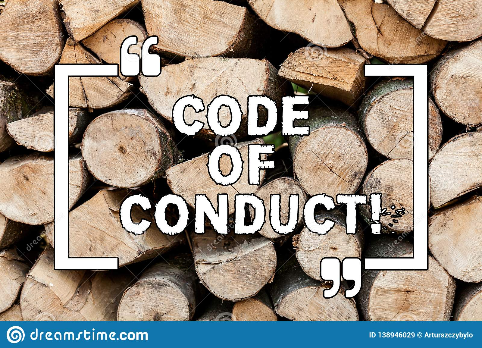Handwriting text writing Code Of Conduct. Concept meaning Ethics rules moral codes ethical principles values respect