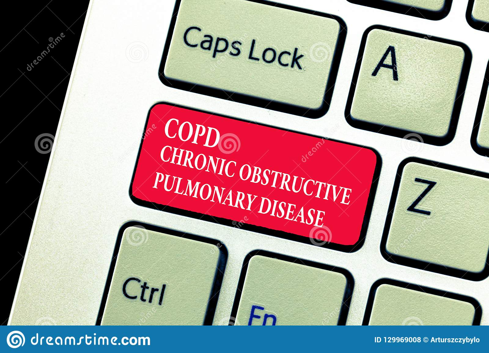 Handwriting text writing Copd Chronic Obstructive Pulmonary Disease. Concept meaning Lung disease Difficulty to breath