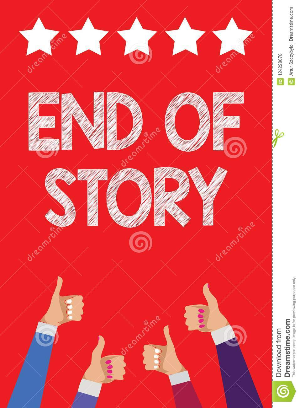 Handwriting Text Writing End Of Story Concept Meaning Emphasize